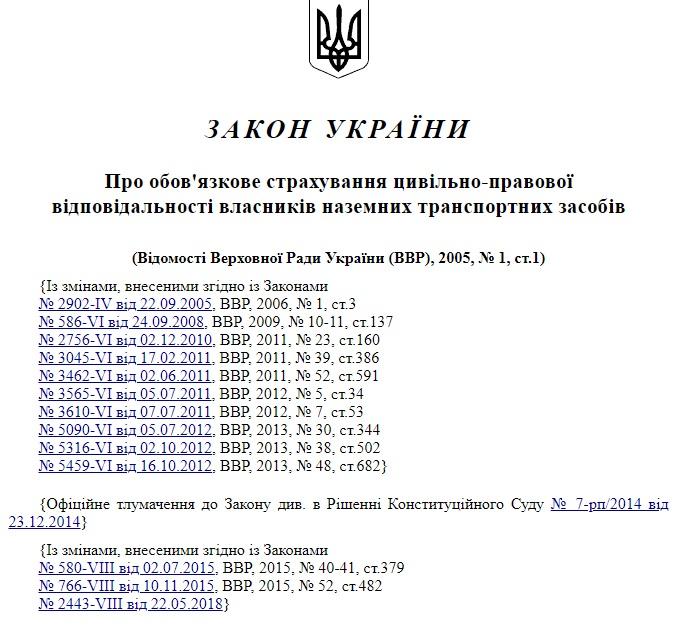 Закон України Про Автоцивілку